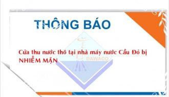 Thông báo ngày 8/10/2019 về tình hình nhiễm mặn nguồn nước trên địa bàn thành phố Đà Nẵng.